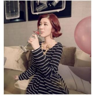 Trendy Feminine Stripe Design Long Sleeve Top