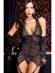 Sexy Black Halterneck Babydoll Garter Belts With Matching G-String (Without Armgloves)