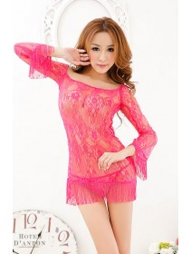 Sexy Pink Long Sleeve Lace Babydoll Short Dress With Matching G-String