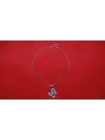Fashion Silver Butterfly Flowery Crystal Shape Necklace