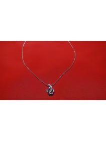 Fashion Silver Exotic Twin C-Shape Crystal Necklace