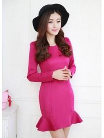 Fashion Round Neck Ruffle Slim Mini Dress