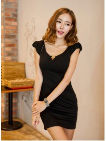 Fashion V Neck Slim Side Open Dress