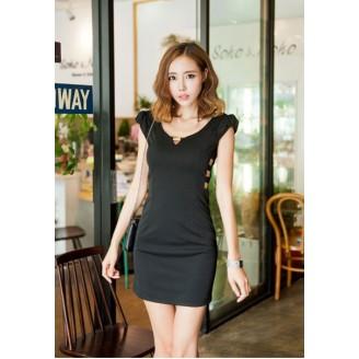 Fashion V Neck Slim Side Open Dress