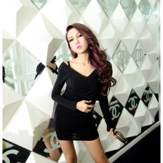 Fashion V Neck Layered Design Slim Dress