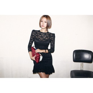 Fashion Floral Lace Design Slim Mini Dress