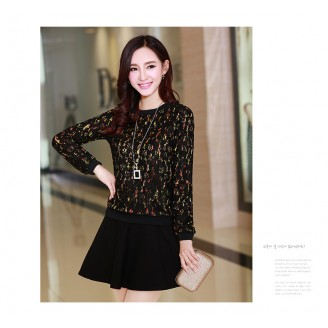 Trendy Lace Design Lady Long Sleeve Top