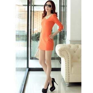 Fashion Sequin Collared Lady Long Sleeve Slim Mini Dress With Side Pocket