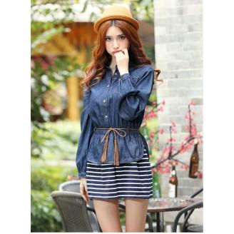 Fashion Two-Piece Joint Denim Design Lady Stripes Dress