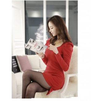 Fashion Asymmetric V Neck Puff Sleeve Mini Dress