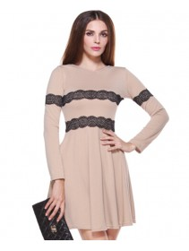 Fashion Lace Design Lady Flare Long Sleeve Dress