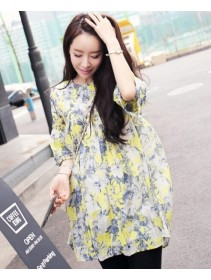 Fashion Floral Design Round Neck Lady Dress