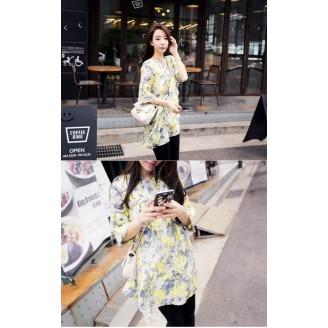 Fashion Floral Design Round Neck Lady Dress