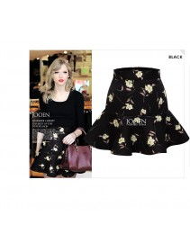 Fashion Flower Design Ruffles Mini Skirt