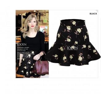 Fashion Flower Design Ruffles Mini Skirt