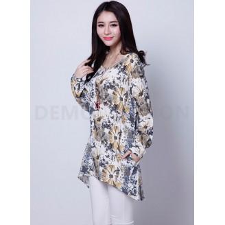 Trendy Floral Design Loose Long Sleeve Top