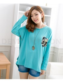 Trendy Two-Piece Joint Floral Design Lady Tunic Loose Top