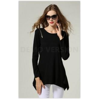 Trendy Zip Shoulder Design Casual Top