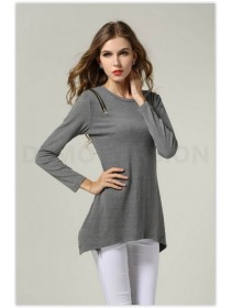 Trendy Zip Shoulder Design Casual Top