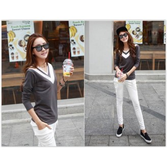 Trendy V Neck Two-Tone Lady Long Sleeve Top