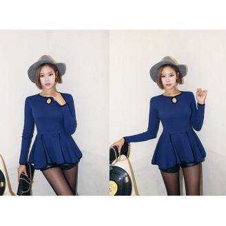 Trendy Lady Peplum Long Sleeve Top