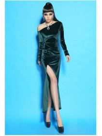 Fashion Toga Long Sleeve Slim Slit Dress