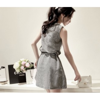 Fashion Lace Design Waist String Sleeveless Mini Dress