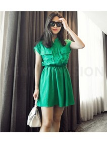Fashion Half Button Waist String Lady Dress With Pockets