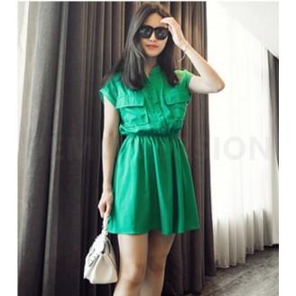 Fashion Half Button Waist String Lady Dress With Pockets