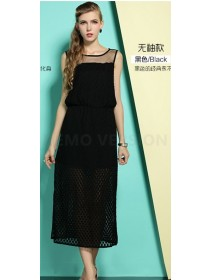 Fashion Lace Design Lady Sleeveless Slit Dress