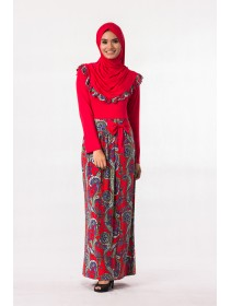 Fashion Two-Piece Joint Batik Design Jubah Dress With Ribbon (Including Shawl)