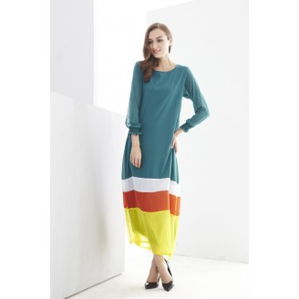 Fashion Mix Color Tunic Modern Jubah Dress