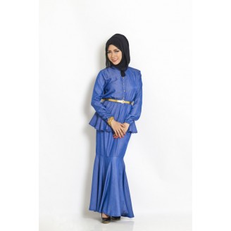Fashion Two-Piece Modern Jubah Dress With High Neck Peplum Top & Mermaid Style Skirt (Without Shawl)