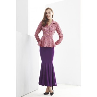 Fashion Two-Piece Modern Jubah Dress With Double Row Button Peplum Top & Mermaid Style Skirt