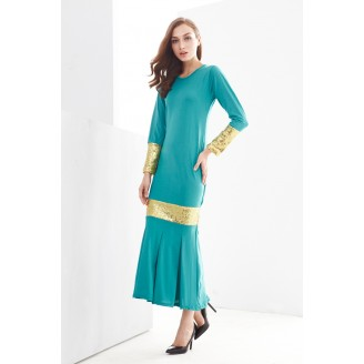 Fashion Round Neck Sequin Design Modern Jubah Dress