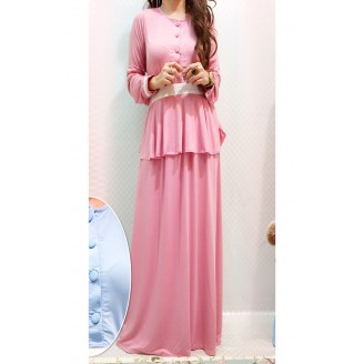 Fashion Two-Piece Modern Jubah Dress With Half Button Peplum Top & Long Skirt