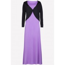 Fashion Two-Piece One Button Cardigan Jubah Dress