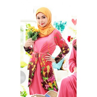 Fashion Two-Piece Floral Design Long Cardigan With Batwing Jubah Dress (Including Shawl)