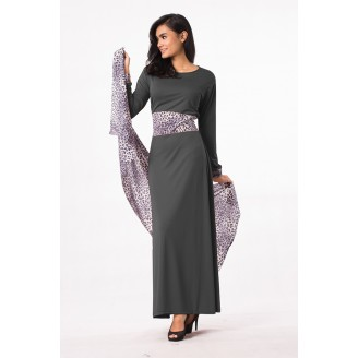Fashion Leopard Design Jubah Dress (Including Shawl)