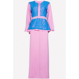 Fashion Half Button Lace Design Jubah Dress (Including Shawl)