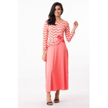 Fashion Chevron Design Modern Jubah Dress With Flower