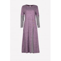 Fashion Classic Side Pleated Modern Jubah Dress With Half Stripe Sleeve