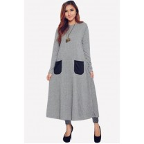 Fashion Classic Long Modern Jubah Dress With Pockets