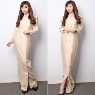 Fashion Bottom Slit Long Sleeve Modern Jubah Dress