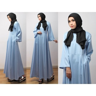 Fashion Denim Jubah Dress With Side Pleated (Including Shawl)