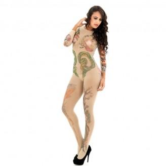 Sexy Artistic Tattoo Open Crotch Bodystocking