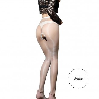 Fashion Pantyhose Open Crotch Stunning Thin Glossy Oil Shiny Details 1D