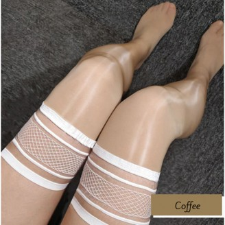 Sexy Lace Top Oil Shiny Smooth Stockings