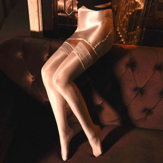 Sexy Sheer Oil Shiny Smooth Silicone Lace Stockings