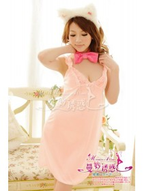 Lovely Pink With Exotic Lace Design Nightgown & Matching G-String (Without Bunny Headgear & Neck Ribbon)